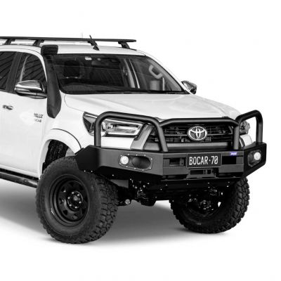 Black steel bull bar to suit Toyota Hilux 08/20 on