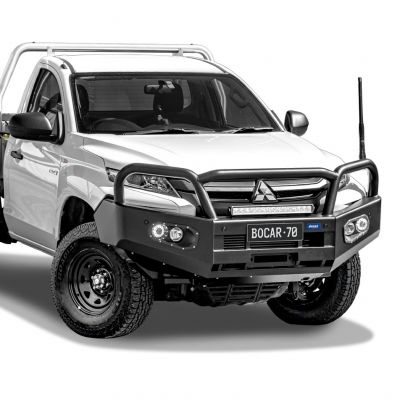 Black steel bull bar to suit Mitsubishi Triton MR