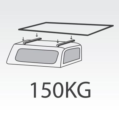 150kg Canopy FlexiRacks with internal supports and Over Cab Extension