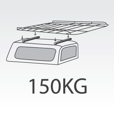 150kg Canopy FlexiRacks with internal supports and 6ft Tradesman Tray